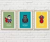 3 affiches Super héros, Superman, Spiderman, Batman