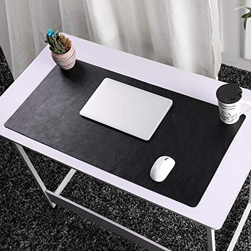 Desk Pad,Leather Office Mouse Pad Not-Slip Plush Desk Mat Laptop Desk Mouse Mat Easy Clean Waterproof for Work Home Decor-Black. 80x40cm(31x16inch)