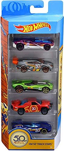 Hot Wheels Pack de 5 vehículos 50 Aniversario, Coches de Juguete (Mattel FWF98)