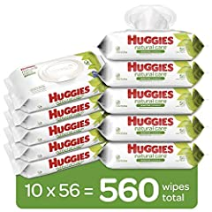 Contains 10 flip-top packs of 56 unscented baby wipes (560 wipes total) Pure & Gentle Wipes – Natural Care Sensitive Wipes contain 99% purified water and 1% skin essential ingredients for a gentler clean Safe for Sensitive Skin – Hypoallergenic & der...