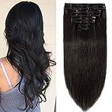 Rajout Cheveux Naturel a Clip Extension Vrai Cheveux Humain Naturel 8 Mèches - Epaisseur Moyenne (#1B NOIR NATUREL, 33cm-80g)
