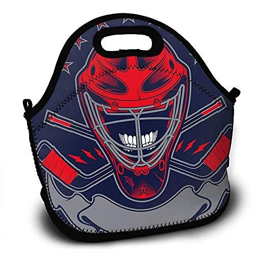 Neoprene Kids Lunch Rugzak Hockey Helm Lunch Tassen Handtas met Verstelbare Schouderband voor Jongens Meisjes Tieners