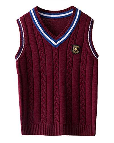 EOZY Kinder Jungen V-Ausschnitt Weste Top Baumwolle Strickweste Ärmellos Sweater Pullover Rot 160 Bruste 82cm