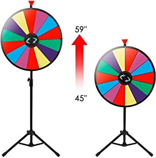 HomGarden 24inch Tabletop Color Spinning Prize Wheel with Folding Tripod Floor Stand 14 Slots Editable Customized Trade Show Casino Fortune Spinning Game