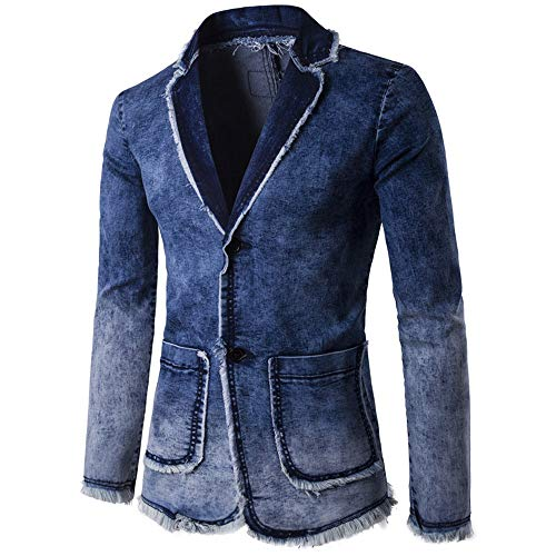 OMINA Denim Blazer for Men, 2019 Fashion Autumn Winter Cardigan Washed Vintage Distressed Long Sleeve Jacket