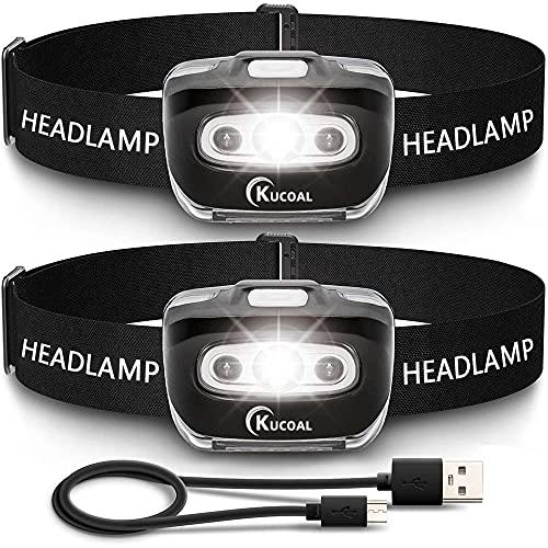 kucoal LED Stirnlampe,1500 mAh wiederaufladbare Kopflampe, wasserdichte Scheinwerfer für Laufen, Angeln,Outdoor, Stirnleuchte mit Rotem Sicherheitslicht für Erwachsene und Kinder[2 Stück]