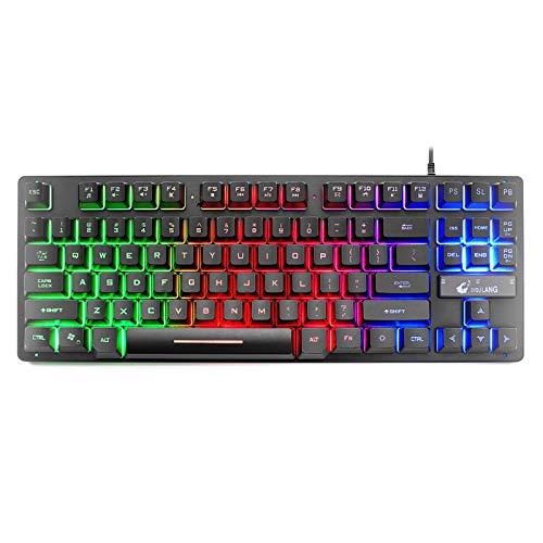 lecduo Clavier de Jeu Mécanique 87 Lettre clé Backlit Mécanique Gaming Keyboard pour Les Jeux