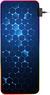 Mobestech Honeycomb Pattern RGB Edge Keyboard Mat Luminous Gaming Mouse Pad Anti-slip Keyboard Pad for Home Office (Black)