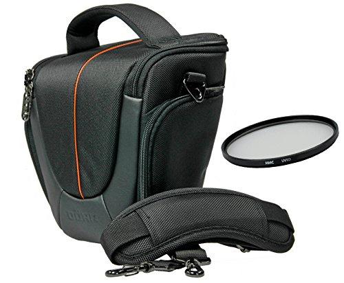 Yuma Halfter M orange Tasche im Set mit UV Filter 55mm für Sony Alpha 7 R II B mit Objektiv SEL 28-70mm KB