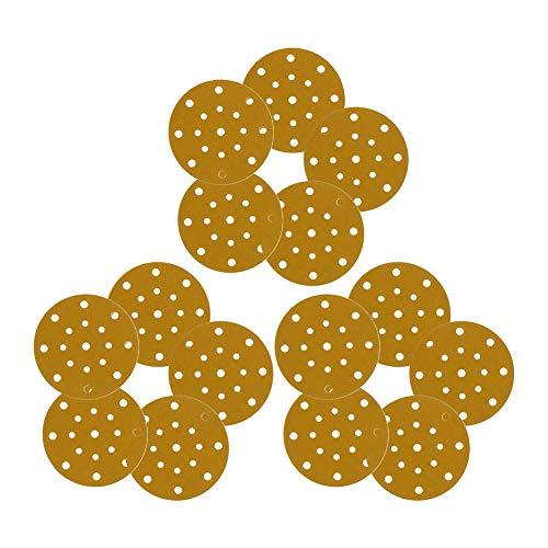 Utoolmart Disco de lija de 17 agujeros, 150 granos, gancho y lazo de 150 lijas de papel de lija en seco y mojado, 15 unidades