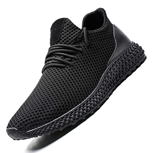 Zeoku Men's Running Shoes Non Slip Fashion Breathable Sneakers Mesh Soft Sole Casual Athletic Lightweight Walking Shoes(12,Full Black)