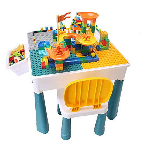 Children DIY Multifunctional Building Table, 6 in 1 Child Play Construction Table with Tableside Storage Box, Desktop Height Can be Increased