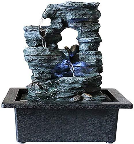 Living Equipment Fuente de Agua de mesa-10 Cascada de formación de Piedra de montaña con luz LED y Bomba eléctrica para Oficina, hogar, Adornos de Feng Shui, decoración de Fuente