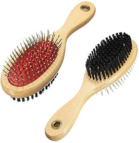 Spazzola in legno 2 in 1 per cani con doppia faccia per massaggiare il bagno e la depilazione, spazzola da bagno per cani e gatti con capelli lunghi o corti