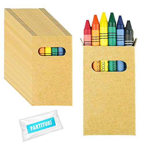 Gadget Compleanno Bambini Partituki. 30 Sets di 6 Pastelli a Cera Colorati e una Ghirlanda di 10 Metri. Ideale per Regalini Fine Festa Bambini e Pignatta