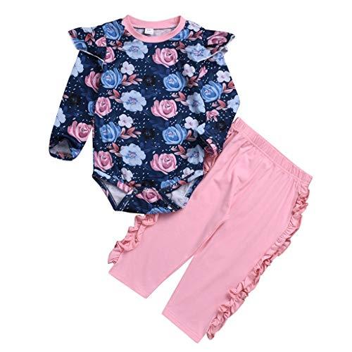 Kingko 2 pcs Enfant en Bas Âge Bébé Fille Vêtements Ensemble Top Haut Floral + Pantalon Rose Tenues 3 6 9 12 24 Mois Bodys et Combinaisons Bébé Fille (80(6-9mois))