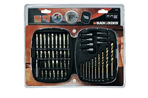 Black+Decker A7093-XJ Kit con 50 piezas para taladrar y atornillar Titanio