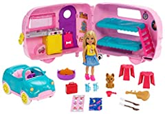 ​Kids can go camping anytime with the Club Chelsea camper doll and playset that offers transformation and lots of toy pieces, including a puppy, to inspire imaginations! ​Hitch the camper to the car, place Chelsea doll in the driver's seat and push t...