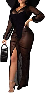 OLUOLIN Women Sexy See Through Mesh Sheer Long Sleeve Solid Deep V Neck Ruched Sheath Slit Bodycon Long Maxi Dress