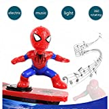Wiscos Halloween Superhero Stunt Skateboard Scooter Electric Universal Rotating Tumble Music Led Light Cartoon Balance Bike Toys for Boys and Adults(One Color, Scooter-Spider)