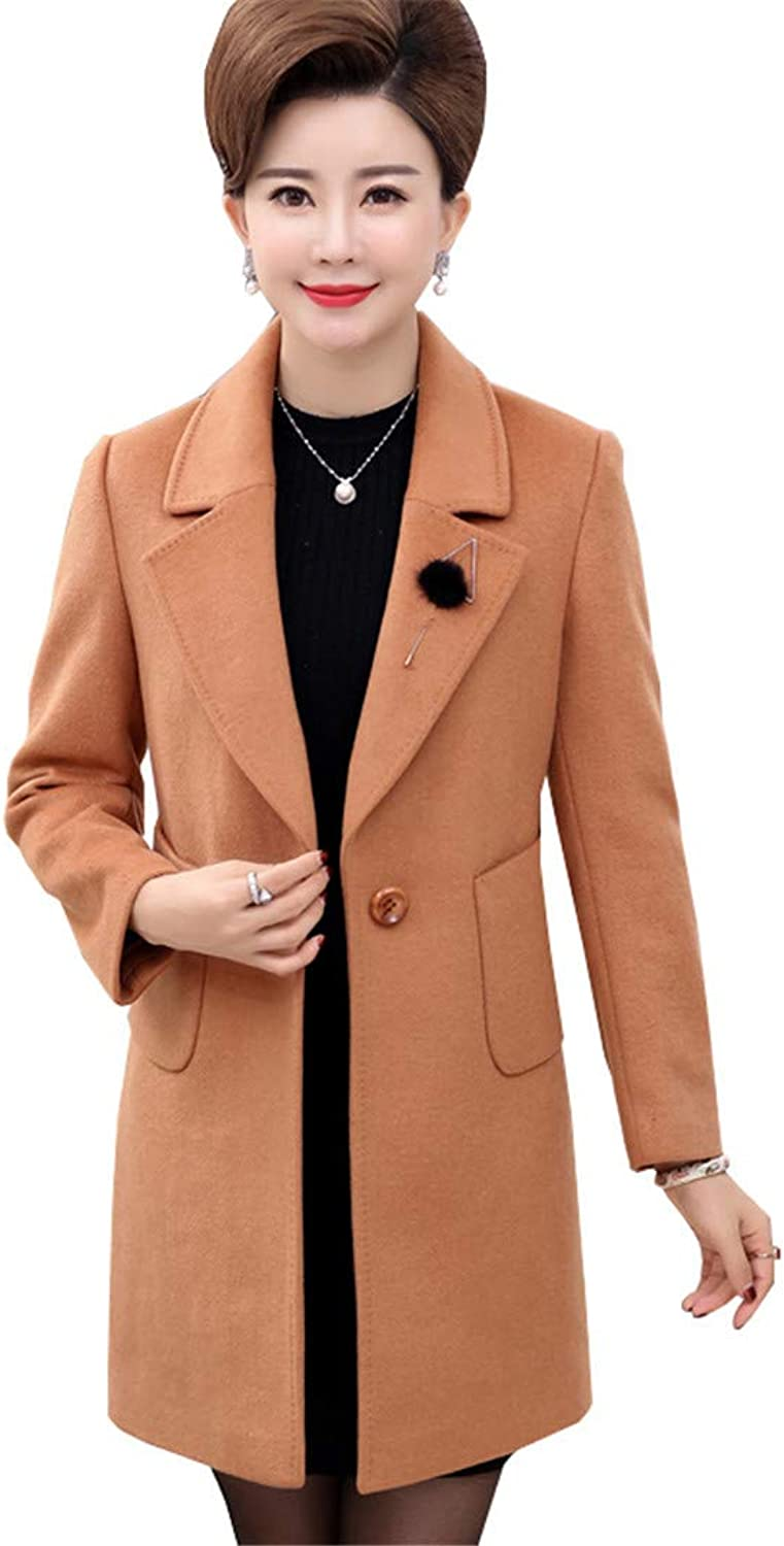 Beltnossnk Women Woolen Jacket Retro Medium Length Plus Size Temperament Woolen Coat