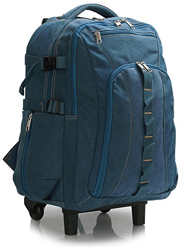 Travel Backpack Rucksack Luggage Bag With Wheels Trolley Large Wheeled for Men Women , Navy