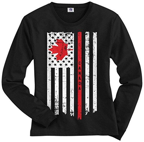 Threadrock Women's Canada USA Canadian American Flag Long Sleeve T-Shirt XL Black