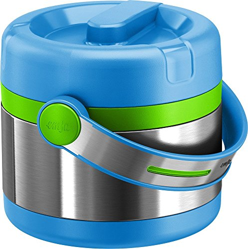 Emsa Mobility Kids Isolier-Speisegefäß 515862, Blau/Grün, 0,65L Thermo Lunches, Edelstahl, 15 x 15 x 15 cm