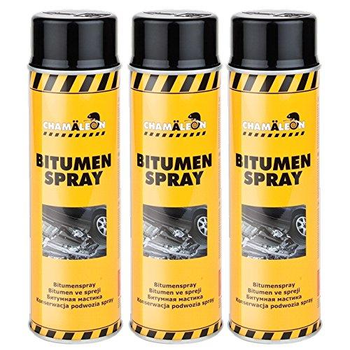 Chamäleon Bitumen Spray 3 x 500ml BITUM Schwarz UBS Schutz UNTERBODENSCHUTZ