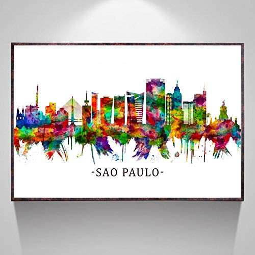VVSUN Sao Paulo Brazil Australia Turin Italy Skyline watercolor Painting Poster Prints Canvas Wall Picture For Home Room Decor 50x75cm Frameless