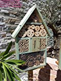 BTV 1x XL insektenhotel - Bienenhotel, TÜRKIS meeresblau blau 1x Bienenhotel,Insektenhaus Spitzdach + Bienenhaus mit Bienentränke, insektenhotel, Schaukasten Insekten