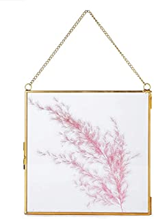 Art India Collections Home Decor Glass & Metal Hanging Picture Frame for Wall Decoration, with 2 Sides Glass - 7 x 7 inch...