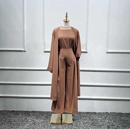 YTTS Kimono Turco inTre PezziTop Pantaloni Abito Musulmano AbitoHijab Dubai Caftano Caftano Islam Abbigliamento per Le Donne