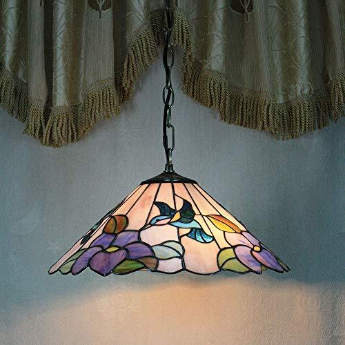 Gweat 8-inch pastoral colibri fleur violette tiffany pendentif lumière lampe de porche de plafond
