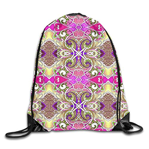 show best Bright Hearts Peasant Dance Drawstring Gym Bag for Women and Men Polyester Gym Sack String Backpack for Sport Workout, School, Travel, Books 14.17 X 16.9 inch