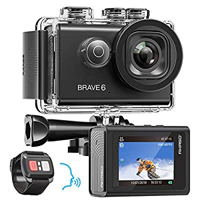 AKASO Brave 6 4K 20MP WiFi Action Camera Voice Control EIS Web Camera 100 feet Underwater Waterproof Camera Remote Control 6X Zoom Underwater Camcorder with 2 Batteries and Helmet Accessories Kit from AKASO