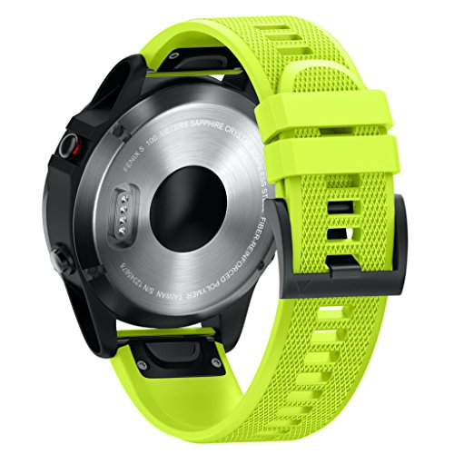 ANBEST 22mm Bracciali in Silicone Compatibile con Fenix 6/Fenix 5/Fenix 6 PRO/Fenix 5 Plus Cinturino con Funzione di Rilascio Rapido Adatto a Forerunner 935/945 Smartwatch, Verde