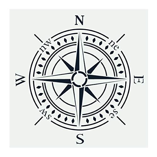 OBUY Kompass-Schablone zum Malen auf Holz, Wänden, Stoff, Airbrush, mehr | Wiederverwendbare 30 x 30 cm Mylar-Schablone