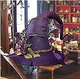 Huoptrkjp Fiesta de Halloween Sombreros de Bruja de Fieltro, Disfraz de Bruja de Halloween para Accesorios de Cosplay, Disfraz de Bruja de Halloween, Decoraciones de Halloween