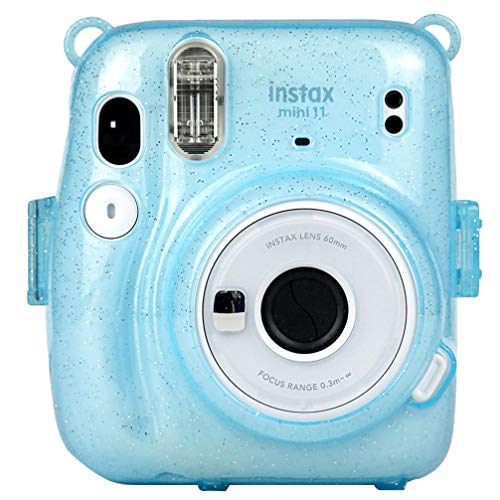 SOLUSTRE Schutzkameratasche mit Regenbogen-Schultergurt Kompatibel mit Fujifilm Mini 11 Sofortbildkamera - Blau Leuchtend
