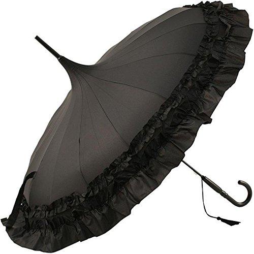 Clifton Umbrellas Schwarzer Pagodenschirm mit 2 langen Fransen