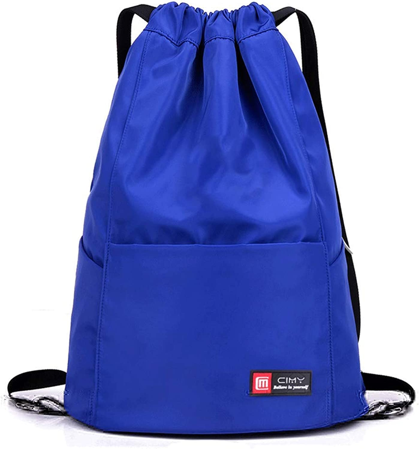 HS01 Unisex Sports Fitness Bag Simple Outdoor Travel Backpack Large Capacity Drawstring Shoulder Storage Bag (color   bluee)