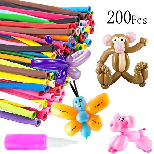 MOOKLIN ROAM 200 Pezzi Palloncini Modellabili con Pompa, Magici Palloncini Lattice Lungo con Pompa per Feste, Compleanni, Matrimoni, Colore Assortiti Decorazione
