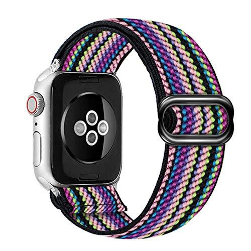 Correa de nailon para Apple Watch Band 6 38mm 40mm 42mm 44mm Para Iwatch Series 6 5 4 3 2 Correa de repuesto para reloj elástico Bohemia-Neon 1,40mm