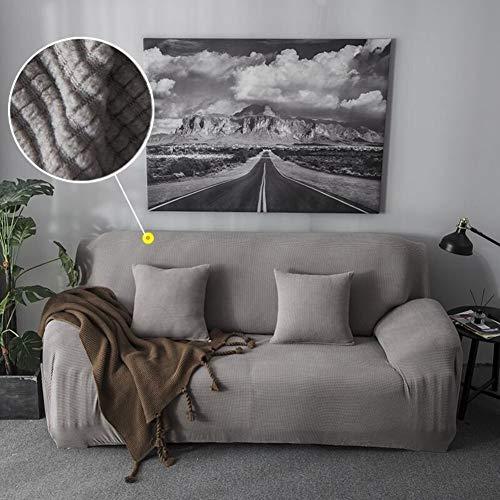 ZHENYUE Sofa Cover Stretch 1 stuk Jacquard Sofa Gooi Wafelsofa Polyester Fest Color Macchia duurzame bank Cover-Geel (Kleur: Grey, Maat: 4 Seater)
