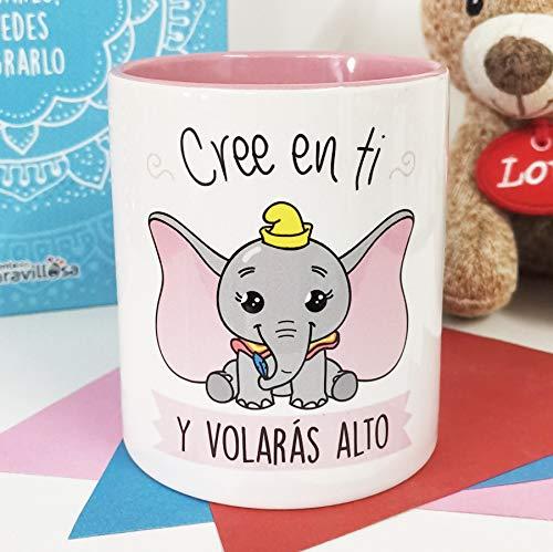 La Mente es Maravillosa - Taza con Frase y Dibujo. Regalo Original y Gracioso (Cree en ti y volarás Alto) Taza Dumbo
