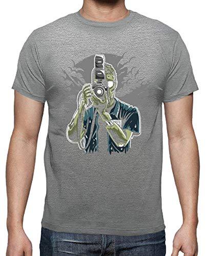 tostadora - T-Shirt Zombie-fotograf - Manner Grau meliert 4XL