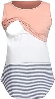 Women Patchwork Block Tops Maternity Long Sleeved Striped Nursing Blouse
