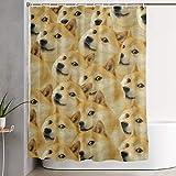 ngquzhe Mr Doge Meme Duschvorhang Polyestergewebe Wasserdichtes Badezimmerdekorset Waschbar mit 12 Haken, 60 x 70 Zoll