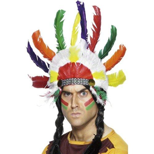 NET TOYS Parure de tête Indien avec Plumes Bijoux d'indien Plusieurs Couleurs Bijoux à Plumes parures de Cheveux Indien Bijoux Western Accessoires déguisement